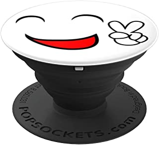 Peace Sign Smiley Face on White Background - PopSockets Grip and Stand for Phones and Tablets