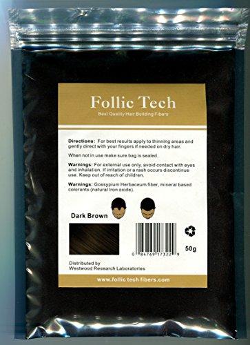 Number One Rated 100% Vegan Hair Building Fibers Hair Loss Treatment All Natural 52 Gram Refill Bag Follic Tech All Organic (Dark Brown)