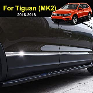 AUTOXBERT Fits for Volkswagen VW Tiguan MK2 2016 2017 2018 2019Stainless Door Side Body Molding Chrome Trim Cover Protector Decoration Car Styling