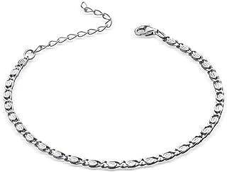 MATERIAL S-pansarkedja silver 925 diamantierad – 3 mm armband dam män i 18-23 cm justerbar + box #SA-26