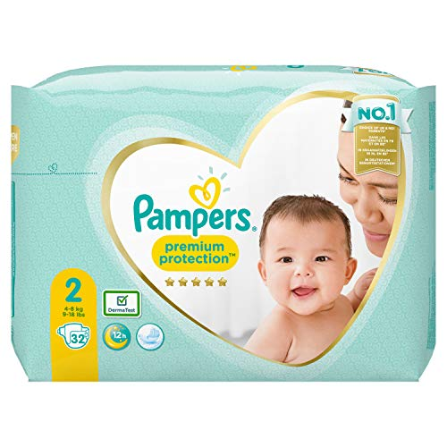 Pampers Premium Protection - Pañales (talla 2, 32 pañales, 4-8 kg, 646 g)