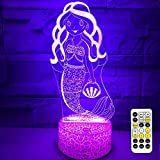 3D Mermaid Night Light for Kids, Mermaid Toys for Girl,7 Colors Changing Mermaid Lamp with Remote Control and Timer,Best Mermaid Gifts for 1 2 3 4 5 6 7 8 Year Old Girl