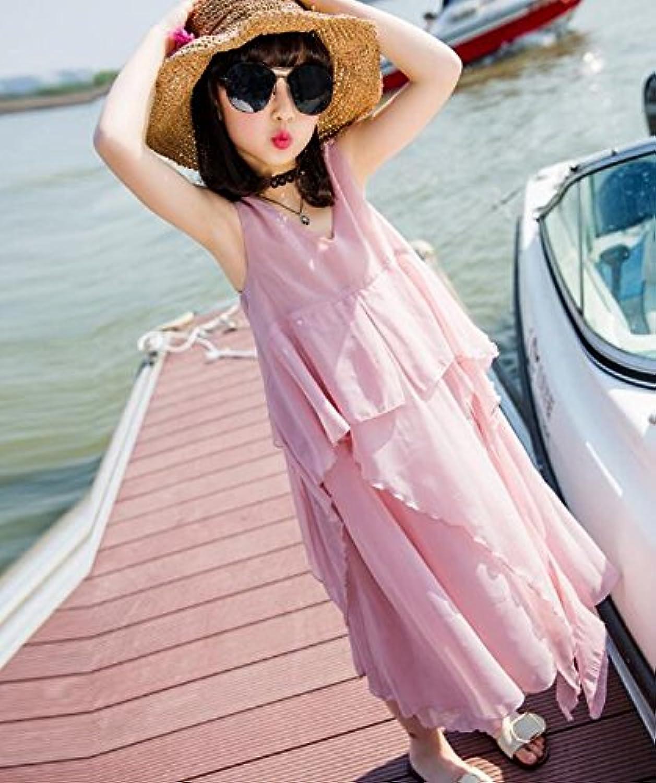LuckyYumi 子供ドレス 女の子 ピアノ 発表会 パーディー 演奏会 フォーマル 入園式 結婚式 ワンピース (120cm, ピンク)