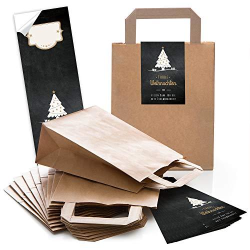 25 sacchetti di carta natalizi marrone con manico e fondo 18 x 8 x 22 cm + 25 adesivi Frohe Weihnachten Danke Kunden (lingua italiana non garantita) regalo confezione albero nero bianco e oro