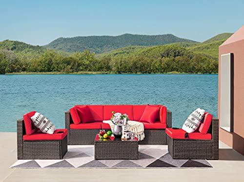 Devoko Patio Furniture Sets 6 Pieces Outdoor Sectional Rattan Sofa Manual Weaving Wicker Patio...