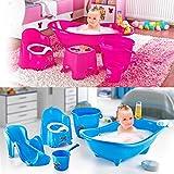 5er Set Baby Babywanne Badewanne Haarwaschbecher Becher Eimer Toilettentrainer Badewann + Liege für Baby zum Schutz vor Abrutschen (Rosa)