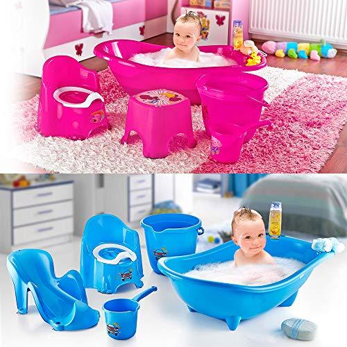 5er Set Baby Babywanne Badewanne Haarwaschbecher Becher Eimer Toilettentrainer Badewann + Liege für Baby zum Schutz vor Abrutschen (Blau)