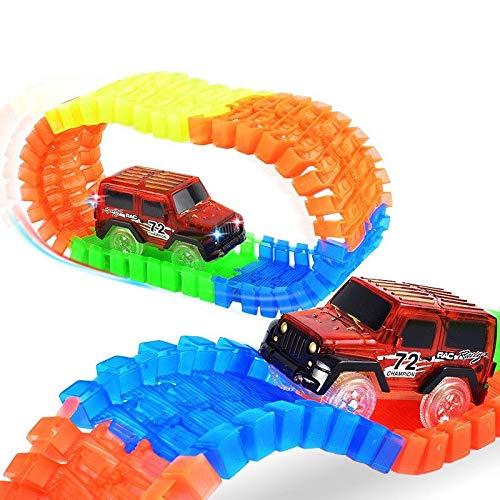 MR Coche Oruga Stunt Track Car, Circuito Coches Juguete Niño, Flexible Coches Juguete