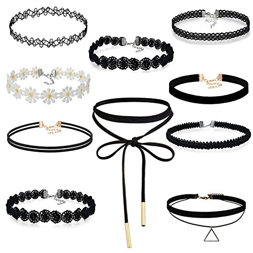 Cupimatch 10pcs Damen Choker Halskette Set, Leder schwarz Stretch samt Tattoo Spitze einstellbar Kragen Halsband, Gotik Punk Rock Lederband