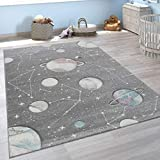 Paco Home Kinder-Teppich, Spiel-Teppich Für Kinderzimmer Mit Planeten Und Sternen, In Grau, Grösse:140x200 cm