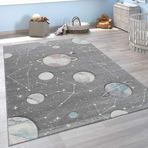 Alfombra Infantil Juego Planetas Y Estrellas para Dormitorio Niños En Gris, tamaño:140x200 cm