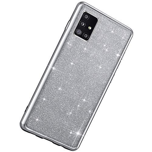 Herbests Kompatibel mit Samsung Galaxy A51 Hülle Bling Glänzend Kristall Glitzer Strass Diamant Durchsichtig TPU Silikon Handyhülle Weiche Silikon Rückseite Glitzer Hülle Case,Silber
