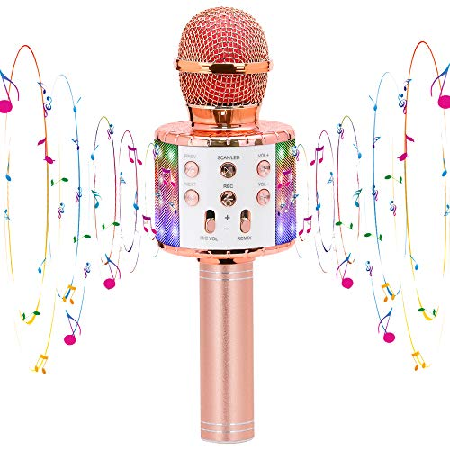 CYY Karaoke Wireless Microphone Toys for 3-12 Years Old Kids, Bluetooth Portable Microphone Speaker with LED Lights,Gifts for Boys Girls Age 5-13 or Adults Birthday Party or Christmas(Rose Gold)