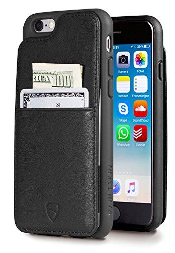 Vaultskin ETON Armour - Custodia a portafoglio per iPhone 6 e 6S (4.7), sottile, minimalista, in vera pelle, contiene fino a 10 carte di credito in pelle (iPhone 6S), colore: Nero