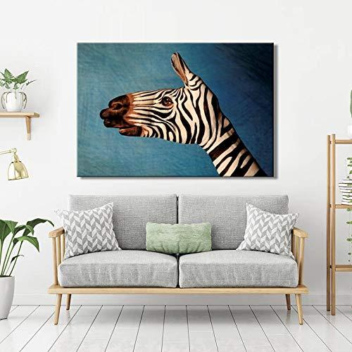 KWzEQ Cartel en Lienzo decoración de la Pared Arte de la Pared Pintura Abstracta Cebra es decoración del Dormitorio,Pintura sin Marco,30x45cm