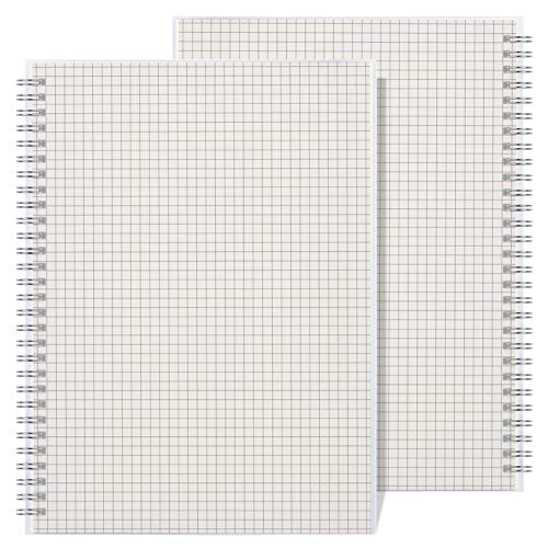 "RETTACY Graph Paper Notebook 2 Pack - B5 Graph Spiral Notebook with 7.3""X 10"",Total 320 Pages,100GSM Thick Paper for Work School Journals"