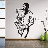 Instrumento musical Saxofón Etiqueta de la pared Jazz Club Músico Jugador Vinilo Tatuajes de pared Música Club Decoración Saxofón Mural Decoración A3 42x76cm