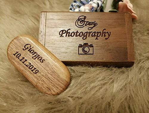(10 Motive zur Auswahl) 32 GB USB-Stick Holz mit Gravur 2.0 massiv Herz Verlobungsringe Liebe Hochzeit Wunschtext Wunschgravur Speicherstick Flash Drive (Nussbaum)