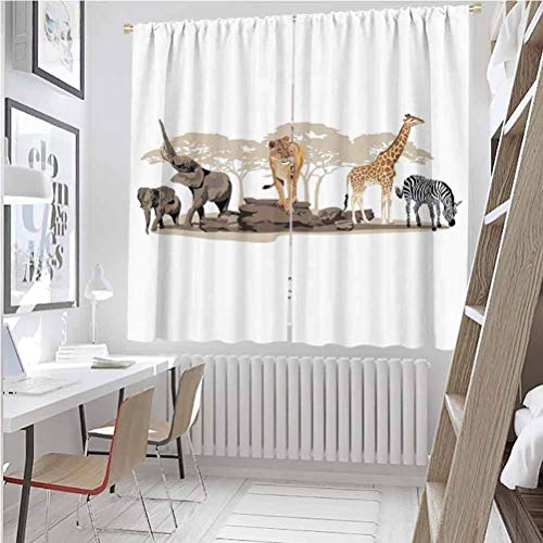 Toopeek - Cortina aislada, diseño de animales salvajes, jirafa, león, elefante, cebra, color multicolor