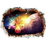 Wajade 3D Galaxy Wall Stickers for Boys Through The Wall Galaxy Wall Decals Removable Art Vinyl Wall Decor for Bedroom for Boys Home Playroom Walls Decoration