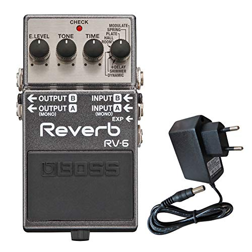 Boss RV-6 Reverb Pedal Studio-Hall + keepdrum 9V Netzteil