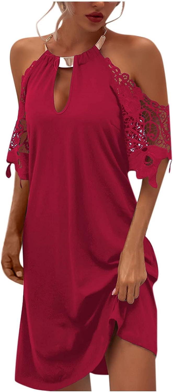 Eoailr Omaha Mall Women Halter Neck Mini Lace Miami Mall Sleeveless Patchwork Ca Dress