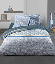 Home Linge Passion | Funda nórdica – 3 Piezas | 100% algodón – 57 Hilos | 2 Personas – 220 x 240 cm | LOUXOR Azul