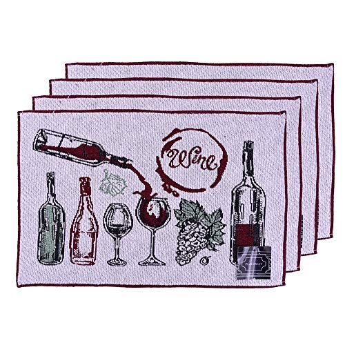 "Set of 4, Printed Decorative Wine Design Tapestry Placemats for Dining Table, Table mat for Dining Room Easy to Clean, Machine Washable Size: 13"" x 19"". (Wine Mixed)"