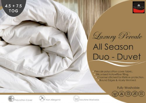 Mason La Vie Percale - Pure New All Seasons Duo Duvet/Quilts Set - 4.5 + 7.5 Tog (Kingsize 225cm x 220cm)