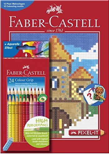 Faber-Castell 201436 - Buntstift Colour GRIP, 24er Etui inklusive PIXEL Buch