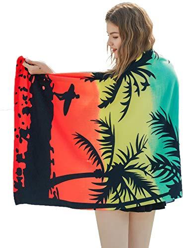 MASMAS Toalla de Playa Microfibra, Toalla de Piscina Grande,Toalla Playera para Tomar el Sol de Verano Paño para Playa Unisex Hombre y Mujer Varios Diseños (54879 árbol de Coco)