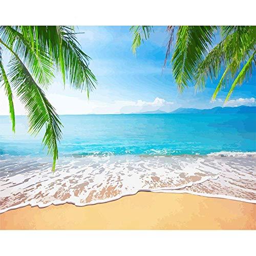 Mauewu Zestaw do malowania według numerów dla dorosłych rysunek DIY olej ręcznie malowany plaża pejzaż morski akrylowe materiały artystyczne farba na 40 x 50 cm bez ramy