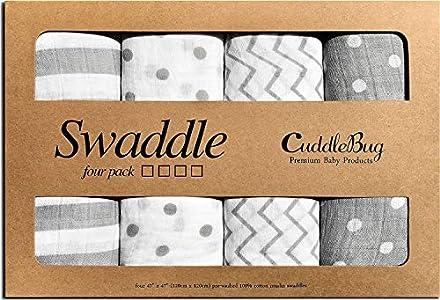 Mantas de Muselina Unisex Cuddlebug - Paquete de 4 - Sabanas de Envolver, Paños de Algodon 100% Muselinas Infantil, Bebes