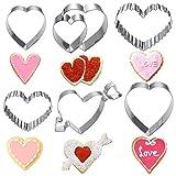 OUNONA Set di 6 formine per biscotti a forma di cuore, in acciaio inox, per San Valentino