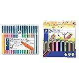 Staedtler 323 SB20 - Rotuladores, 20 Unidades, Multicolor + 185 C24 - Lápices de (24 unidades) Multicolor