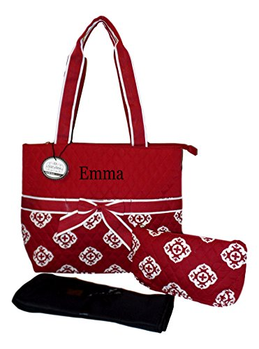 SazyBee 3 Piece Diaper Tote Bag Set - Custom Embroidery Available (Embroidered Name Burgundy Medallions)