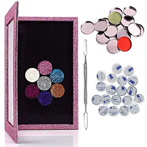Leere Palette Kit, Kalolary Leere Make-up Magnetic Palette 1 Makeup-Depot Werkzeug und 20 Stück leere Metall Pfannen für DIY Lidschatten, Highlight, Erröten, Gebackene Pulver