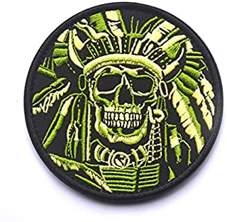 Morton Home Death Skull War Chief USA Indian Army Military Tactical Morale Desert Badge Hook & Loop Embroidery Patch 3.34