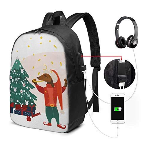 Schulrucksack Mit USB Port Jungen Mädchen Teenager, Rucksack Schule Laptop Rucksack für Herren Damen Daypacks für 15,6 Zoll Laptop Rucksack Dackel 677