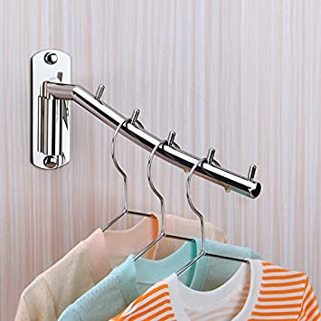 Folding Wall Mounted Clothes Hanger Rack Wall Clothes Hanger Stainless Steel Swing Arm Wall Mount Clothes Rack Heavy Duty Drying Coat Hook Clothing Hanging System Closet Storage Organizer Black 1Pack