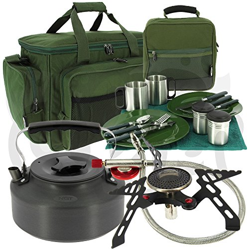 NGT Carp Fishing & Camping Cutlery Cooking Set with Gas Stove, Kettle + Carryall