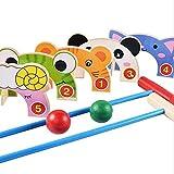 LSWY Juego de Juegos de Croquet Animal de Granja de Madera, Interior y al Aire Libre Mini Golf Dibujos Animados Croquet, Niños para niños Niños Juguete Educativo