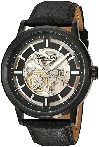 Kenneth Cole New York Men's KC1632 Skeleton Dial Automatic Analog Leather Strap Watch