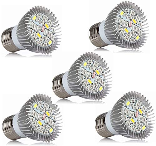 Bombillas LED Bombilla LED de crecimiento AC85-265V, Bombillas de cultivo de espectro completo de 5W para plantas de interior hidropónicas, Bombillas de plantas para flores suculentas (E26 / E27) Paq