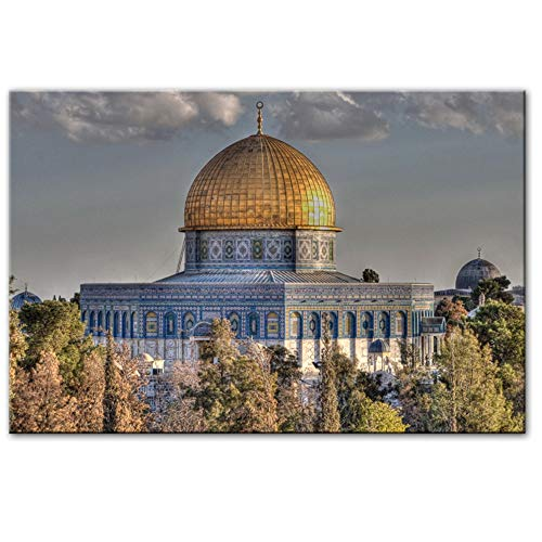 """HYFBH Masjid Al Aqsa and Dome of The Rock Wall Art Posters Mosque Canvas Art Prints Muslim Pictures for Living Room Wall Decor 60x80cm(23.6""""x31.5) with Frame"""
