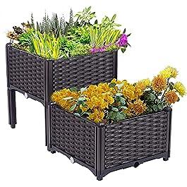 縦断勾配 Bac Jardiniere Exterieur Ensemble de 2 kit de jardinière, lit de Jardin surélevé, Plante en Plastique de Style…