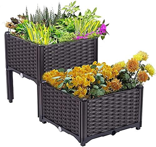 DFJKEIESED Balconiera Set di 2 Kit di fioriera, Letto da Giardino rialzato Moderna pianta in plastica in Stile Rattan Che cresce, per ortaggi da Fiore crescono Indoor Outdoor Fioriera da Esterno