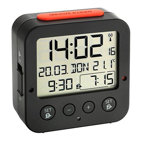 TFA Dostmann 60.2528.01 Bingo Funk-Wecker, mit autom. Hintergrundbeleuchtung, Datum, Temperaturanzeige und zwei Weckzeiten, schwarz/rot