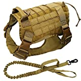 Cnrng Military Tactical Dog Harness K9 Working Dog Vest Nylon Bungee Leash Lead Training Running For Medium Large Dogs German Shepherd-yellow-L