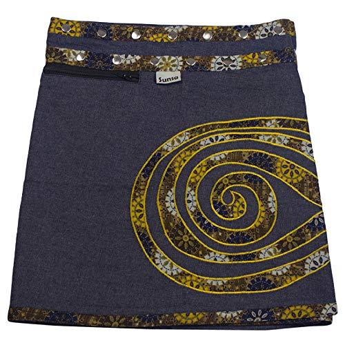 Sunsa Damen Rock Minirock Sommerrock Wickelrock aus Jeans & Baumwolle, 2 Röcke in einem, Größe verstellbar, Frau Bekleidung, Blauer kurz Jeansrock Geburtstag Geschenk für Frauen 15737